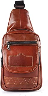 Lcxliga Shoulder Backpacks Bags Crossbody Rope Men Chest Bag Leisure Genuine Leather Satchel Shoulder Bags Business Casual Daily Activity
