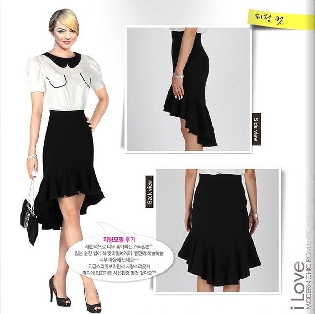 Women's Irregular Hem Fishtail Pencil Slim Pleated Skirt