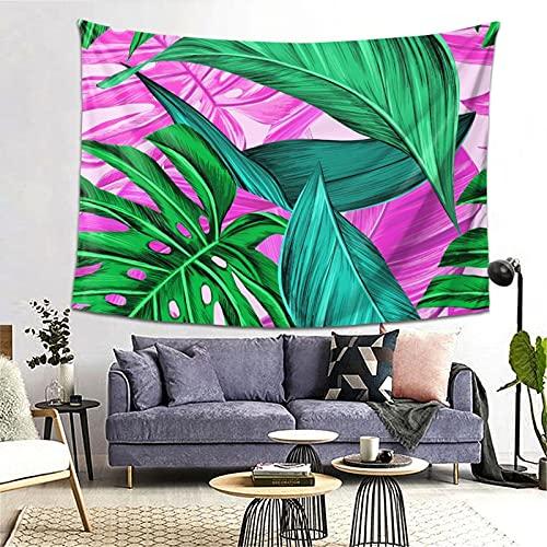 ZHJH Tapiz, para hombre y mujer, colorido Monstera, diseño de hoja de banano hawaiano, tela de pícnic, agradable a la piel y ligero para dormitorio de 203 x 152 cm