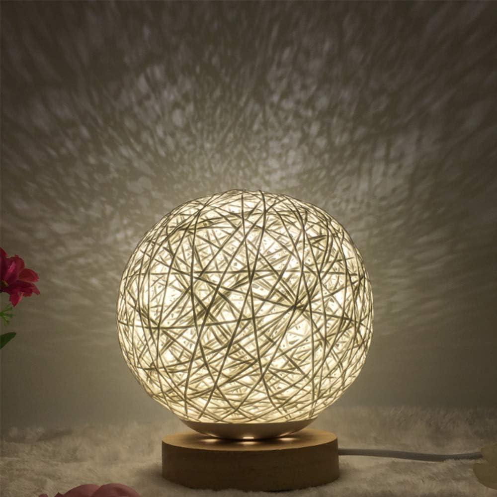 Lixada lampada da tavolo,usb, in rattan intrecciato TZF8469019205081NV