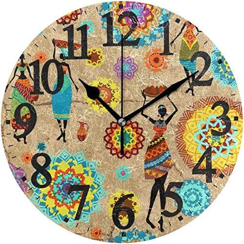 tuobaysj Reloj de Pared Redondo Mandala de Mujer Africana Decoración de Arte para el hogar Reloj para Oficina en casa