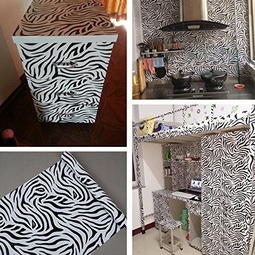 SimpleLife4U Self Adhesive Furniture Protect Paper Moisture Proof Shelf Liner 300cm,Zebra Stripe Valentine's Day Gift