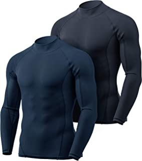 TSLA Men's (Pack of 1, 2, 3) Cool Dry Fit Mock Long Sleeve Compression Shirts, Athletic Workout Shirt, Active Sports Base ...