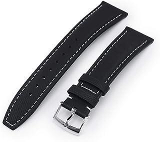 Cinturino per orologio in pelle intrecciata nera, 20 mm, cuciture beige, fibbia lucida.