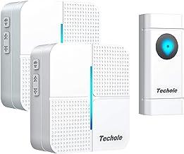 Techole Deurbel, draadloze draadloze deurbel, voor buiten, waterdicht, 300 m bereik, deurbel, draadloze set, bel huisdeur ...