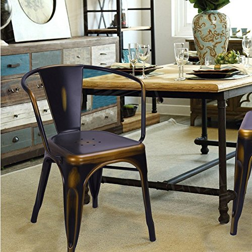 Adeco Black, Bronze, Antique Metal Stackable Chairs (Pair)