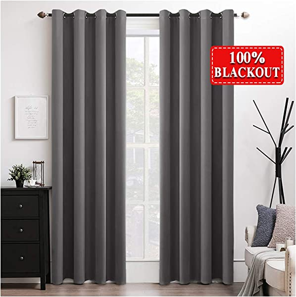MIULEE 100 Blackout Curtains Thermal Insulated Solid Grommet Curtains Drapes Shades For Bedroom Living Room 2 Panels 52 X 90 Grey