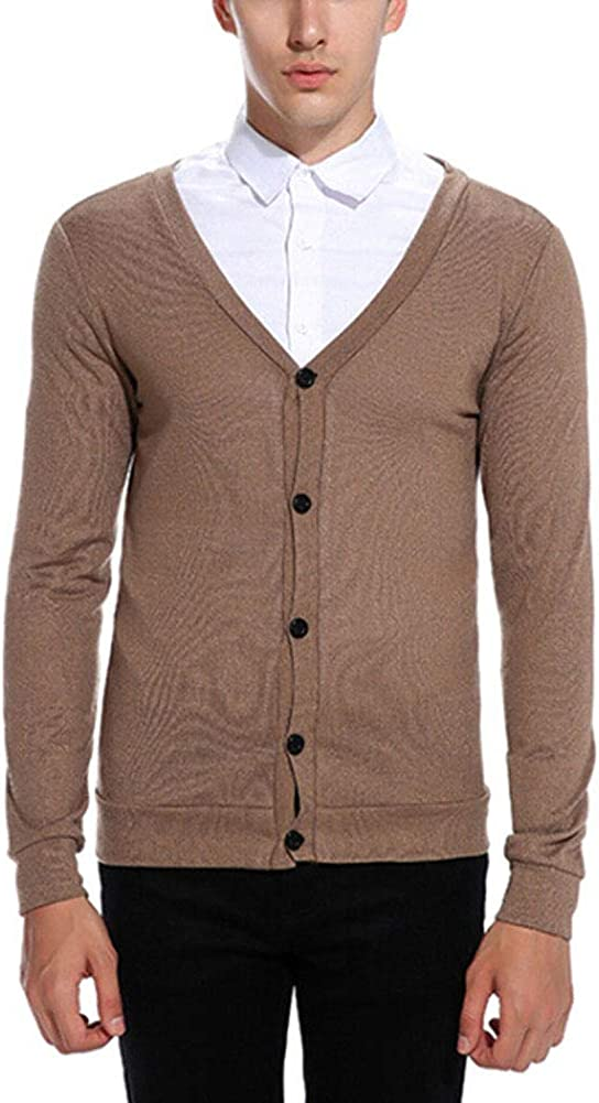 Mens Basic Long Sleeve V-Neck Cardigan Button Down Solid Color Knitted Lightweight Sweater