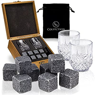 Whiskey Stones Gift Set w/ 8 Granite Chilling Whiskey Rocks, 2 Crystal Glasses & Velvet Bag by EMcollection|Packed in Elegant Wooden Box