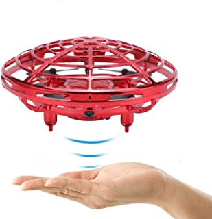 Flying Ball Toys Mini Drone for Kids, Hand Controlled Drone Quadcopter Flying Toys Interative Infrared Induction Drone Helicopter Ball with 360°Rotating and Flashing LED Lights (Red)