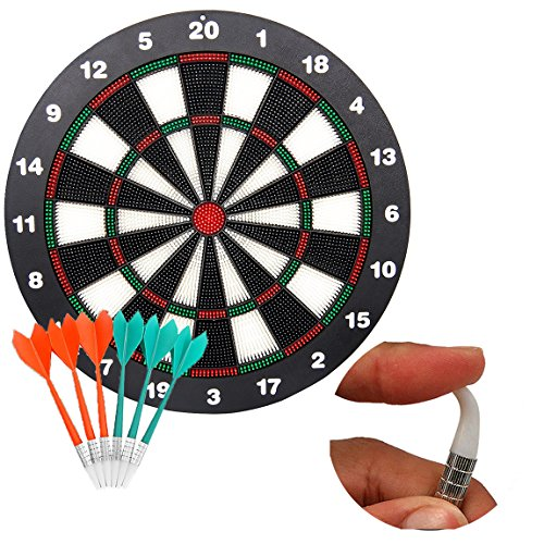 Soft Tip Safety Darts and Dart Board - Great Games for Kids Children- Professional Dartboard Set ( with 6pcs Safe Soft Tip Darts)
