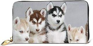 Purse Wallet,Monedero De Cuero Genuino Caitin Siberian Husky, Titulares De Tarjetas De Efectivo Vintage para Compras Reunión Informal,10.5(W) x19(L) x2.5(T) cm