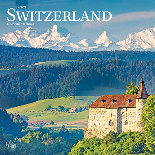 Switzerland 2021 12 x 12 Inch Monthly Square Wall Calendar, Scenic Travel Europe Swiss Alps