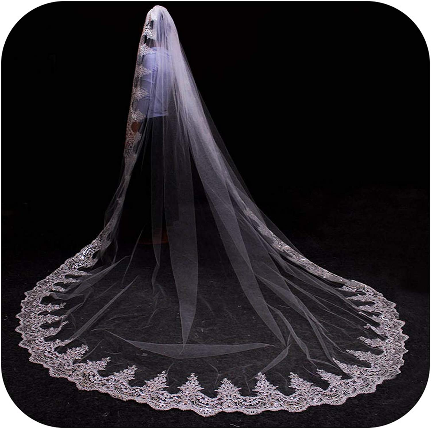 3 Meters White Ivory Cathedral Mantilla Wedding Veils Long Lace Edge Bridal Veil With Comb Wedding Accessories Bride,White,300Cm