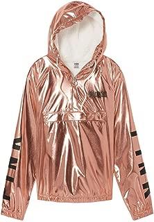 Victoria's Secret Pink Quarter Zip Cozy Sherpa Hoodie Anorak Jacket Rose Gold