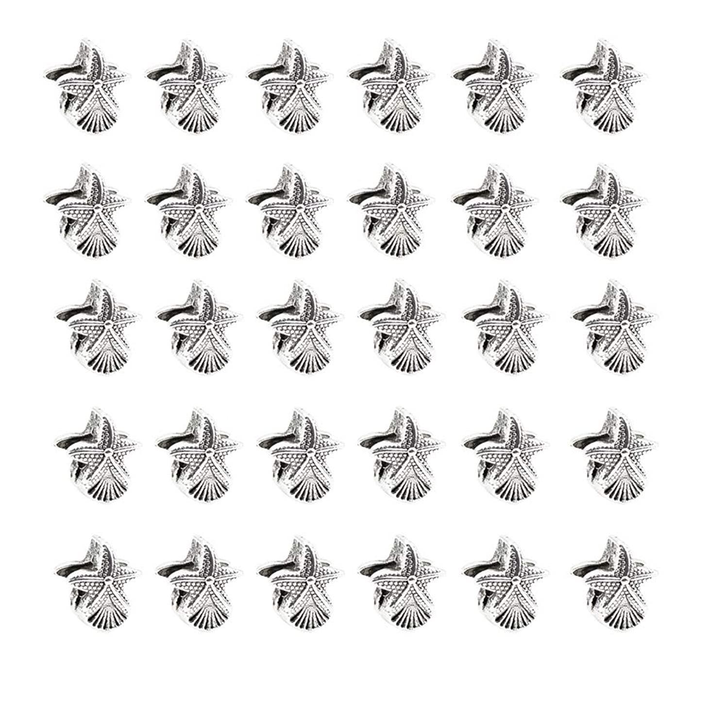 Mystart 30 Pieces Silver-Plated Shell Starfish Large Hole Beads Charms Hand Chain Jewelry Making Accessories
