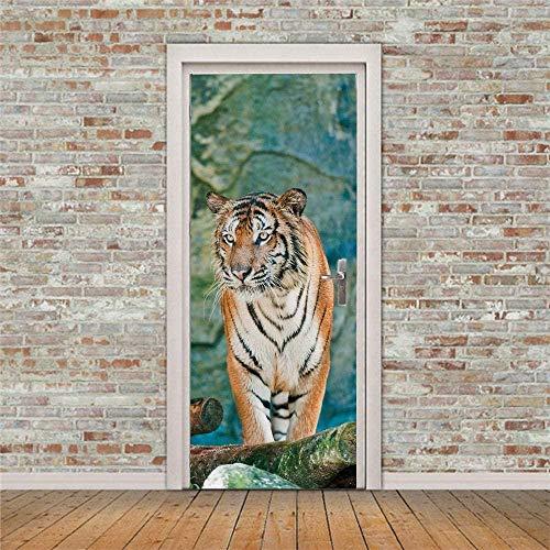 JYXJJKK Türtapete Türposter 3D Tapete PVC Fototapete Wild Tier Tiger 90x210 cm für Badezimmer Küche Schlafzimmer Deko Selbstklebende Bild Poster für Türen