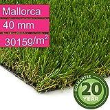 Kunstrasen Rasenteppich Mallorca für Garten - Florhöhe 40 mm - Gewicht ca. 3015 g/m² - UV-Garantie 20 Jahre (DIN 53387) - 2,00 m x 0,50 m | Rollrasen | Kunststoffrasen
