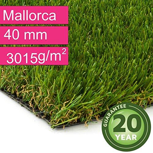 Kunstrasen Rasenteppich Mallorca für Garten - Florhöhe 40 mm - Gewicht ca. 3015 g/m² - UV-Garantie 20 Jahre (DIN 53387) - 2,00 m x 2,50 m | Rollrasen | Kunststoffrasen