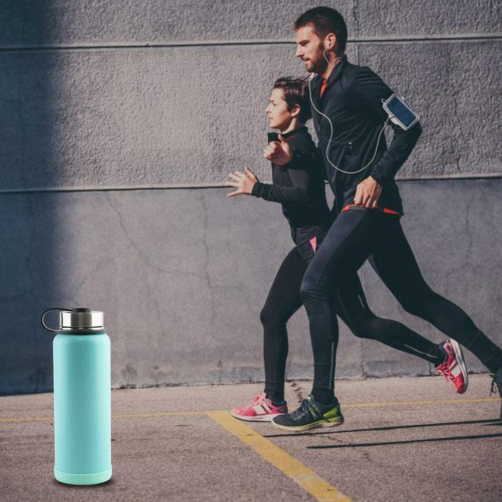 Sangyn Stainless Steel Sports Water Bottle 32oz 40oz Double Wall Vacuum Insulated Thermos Cup with Wide Mouth Spout Lid Leak Proof for Traveling Camping Hiking