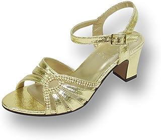 05e94c81086d Floral FIC Carla Women Wide Width Heeled Dress Sandal for Wedding