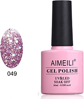 AIMEILI Soak Off UV LED Gel Nail Polish - Princess Glitter (049) 10ml