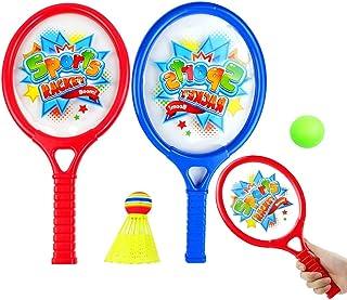 Fansport Kids Tennis Racquet Set Cartoon Funny Tennis Racket Badminton Racket with Balls
