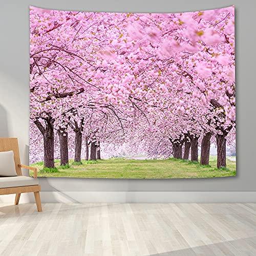 KHKJ Hermosas Flores de Cerezo Tapiz Dormitorio 3D Cerezo Paisaje Tapiz Manta para Colgar en la Pared Paño de Fondo para el hogar A6 200x150cm