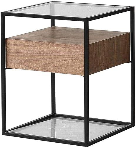 Table pliante Casier Simple Moderne en Verre Noir en Noyer d'un Côté à l'autre