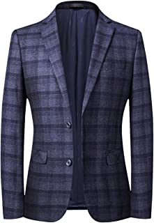 Allthemen Mens Casual Blazer Long Sleeve 2-Button Printed Plaid Jacket Business Tuxedo Suits Jacket