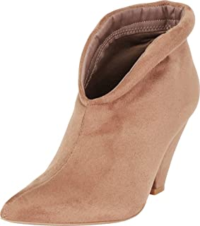 Cambridge Select Women's Pointed Toe Front V Cutout Chunky Cone Heel Ankle Bootie