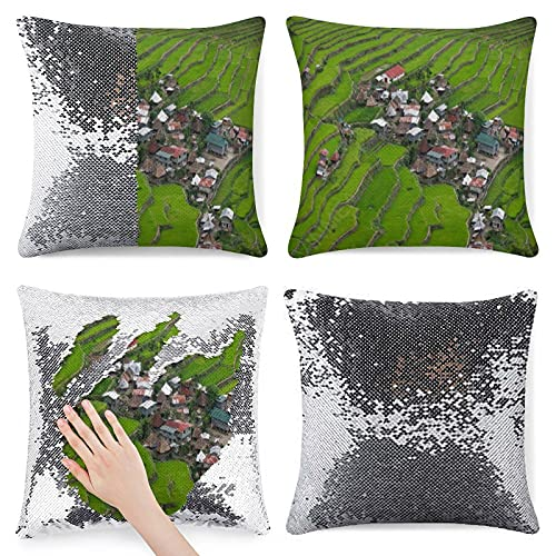 VinMea Funda de almohada con lentejuelas y purpurina para cojín decorativo de banaue, terrazas de arroz, viaje, funda de almohada decorativa con purpurina, talla única de 40,6 cm