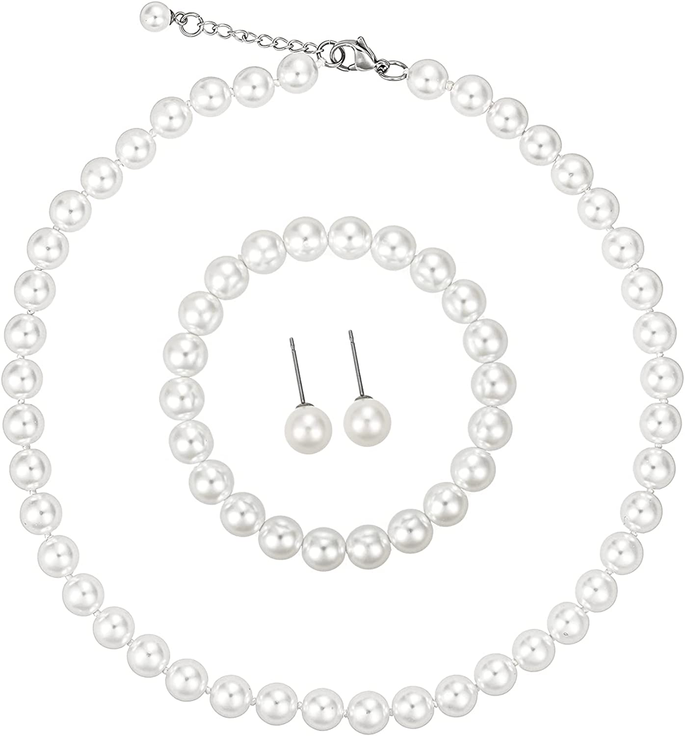 LZMEI White 8mm Faux Hand Knotted Glass Imitation Pearls Necklace Earring Jewelry 3 Set for Women and Girls
