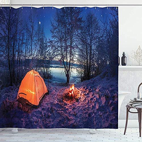 ASDAH Forest douchegordijn donker nacht camping tent foto in de winter op de sneeuw bedekt lands door de Lake doek stof badkamer Decor Set met haken blauw oranje 66 * 72in
