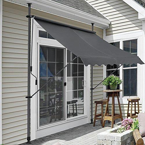 Pro-Tec Klemmmarkise Grau 350 x 120 x 200-300cm Markise Balkonmarkise Sonnensegel Sonnenschutz ohne Bohren