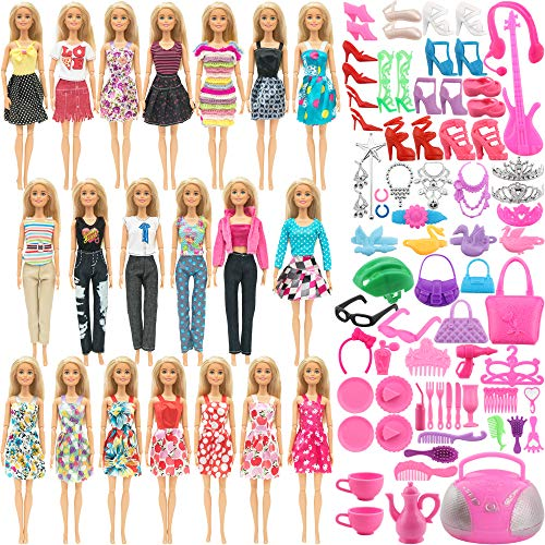 SOTOGO 110 Pieces Doll Clothes and Accessories for 11.5 Inch Girl Doll Different Occasions Include 20 Sets Handmade Doll Grown Outfits Fashion Party Dresses and 90 Pieces Different Doll Accessories