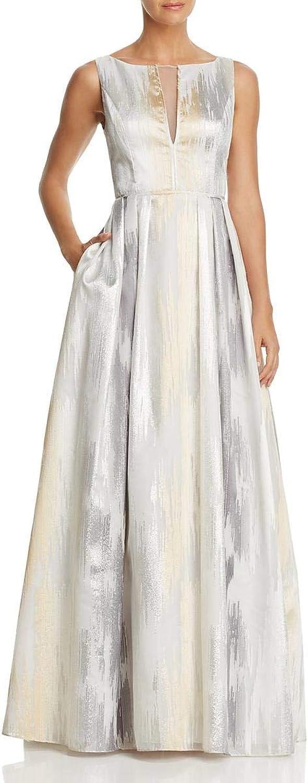 Aidan Mattox Womens Metallic Sleeveless Formal Dress