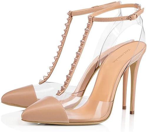 XDGG Femmes Femmes Transparent Rivet à Talons Hauts PVC Sandales Grande Taille Rivet Boucle En Cuir Couture Pointu Toe Chaussures Seules 40-46,Apricot,46  80% de réduction