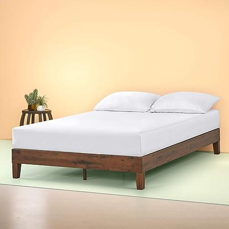 Zinus Marissa 12 Inch Deluxe Wood Platform Bed / No Box Spring Needed / Wood Slat Support / Antique Espresso Finish, King