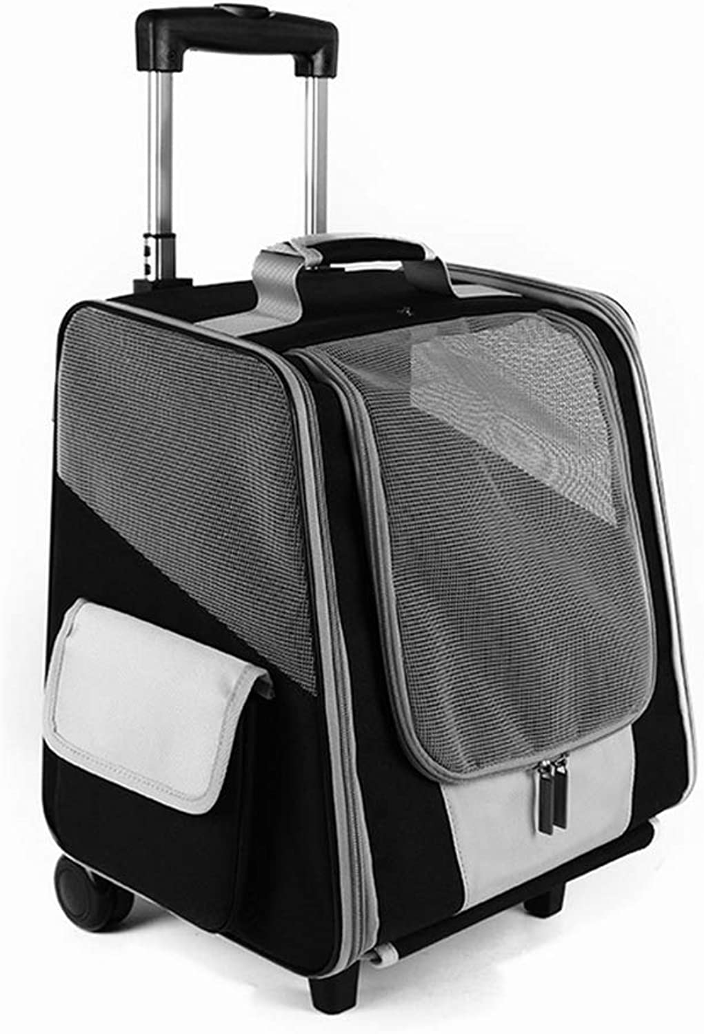 Pet Trolley Case Large Folding Pets Carrier Travel Bag, Pets up to 7.5kg(Dog) Can be Used as a Handbag, Backpack Pull Rod 93cm