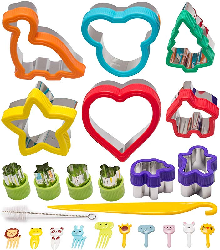 Sandwich Cutters For Kids 24 Pcs Bento Accessories With Sandwich Cutter Bread Cutter Cookie Cutters Vegetable Cutter Fruit Cutter Shapes Set Food Release Knife And Brush FREE Food Pick Forks