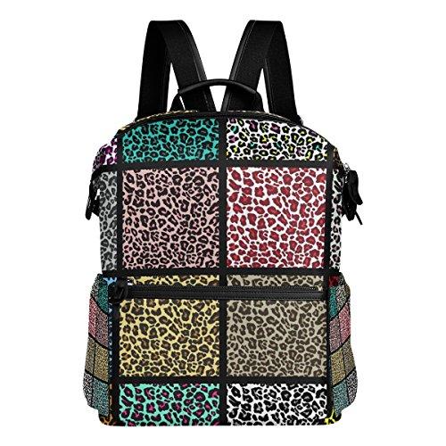 COOSUN Conjunto de patrones de leopardo escuela de la mochila del morral del recorrido Multi