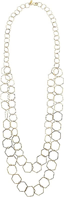 "Kenneth Jay Lane 2 Row Polished Gold Geometric ""S"" Hook Necklace"