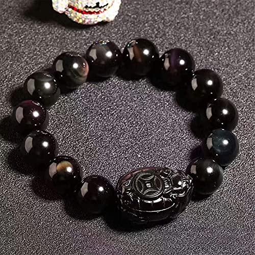Bracelet à Breloques ami, Bracelet en Obsidienne Arc-en-Ciel