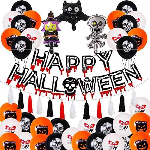 XJZKA Halloween Balloons Halloween Party Decoration Balloons Halloween Skull Theme Pull Flag Black and White Orange Balloon Set (2 Sets)