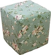PLAFUETO Canvas Ottoman Cover Square Ottoman Slipcover Cotton Footstool Protector Storage Ottoman Covers Furniture Protect...
