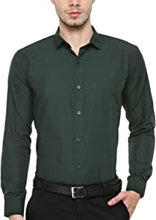 BEING FAB Dark Green Solid Slim Fit Casual Shirt…