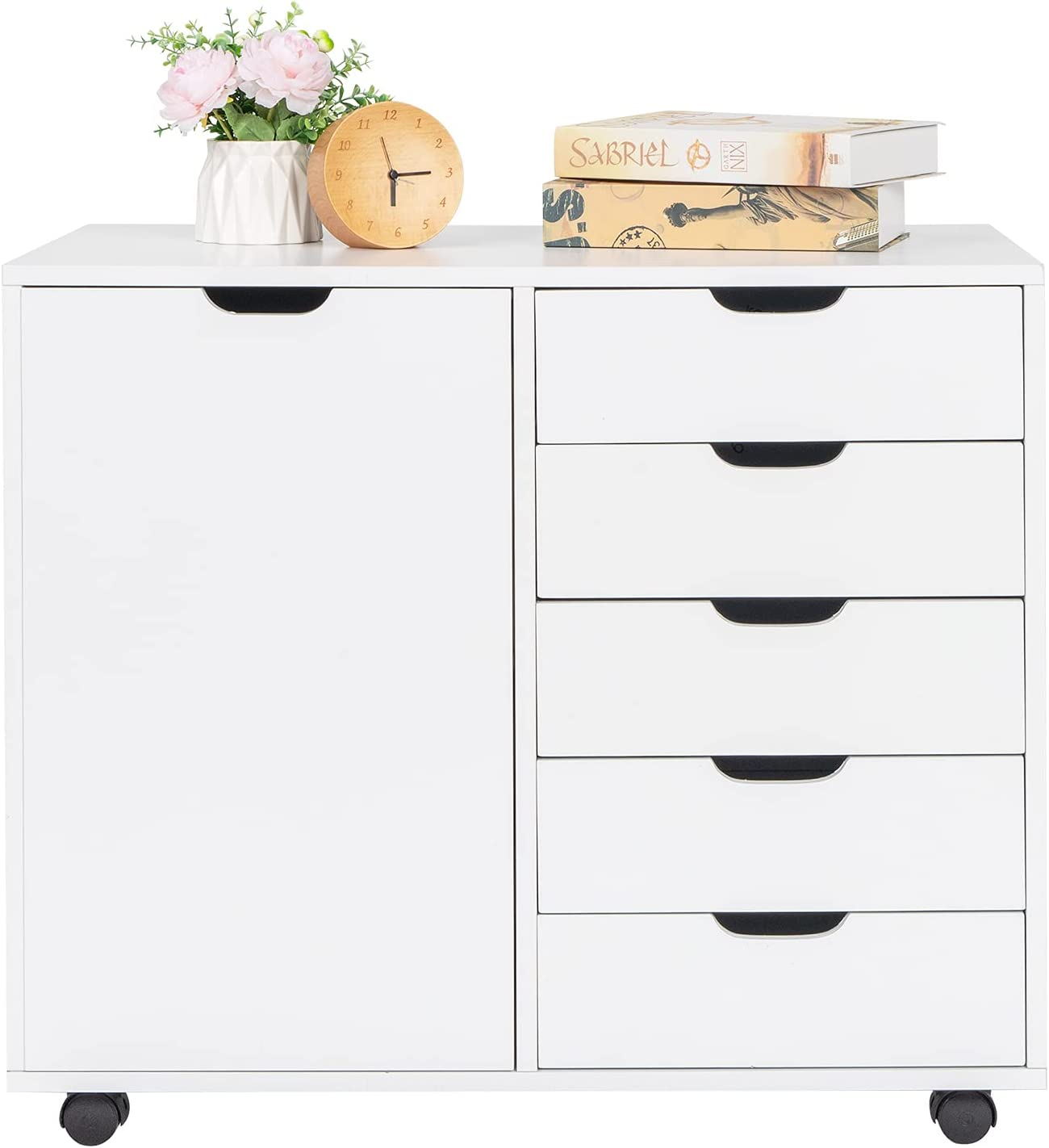 Single Door Five Drawer Rolling Wood Locking W File Cabinet with Price reduction Bargain
