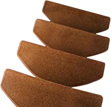 JIAJUAN Stair Carpet Treads Solid Color Non-Slip Thick Stairs Tread Rugs, 4 Colors, 5 Sizes, Customizable (Color : Brown-1...