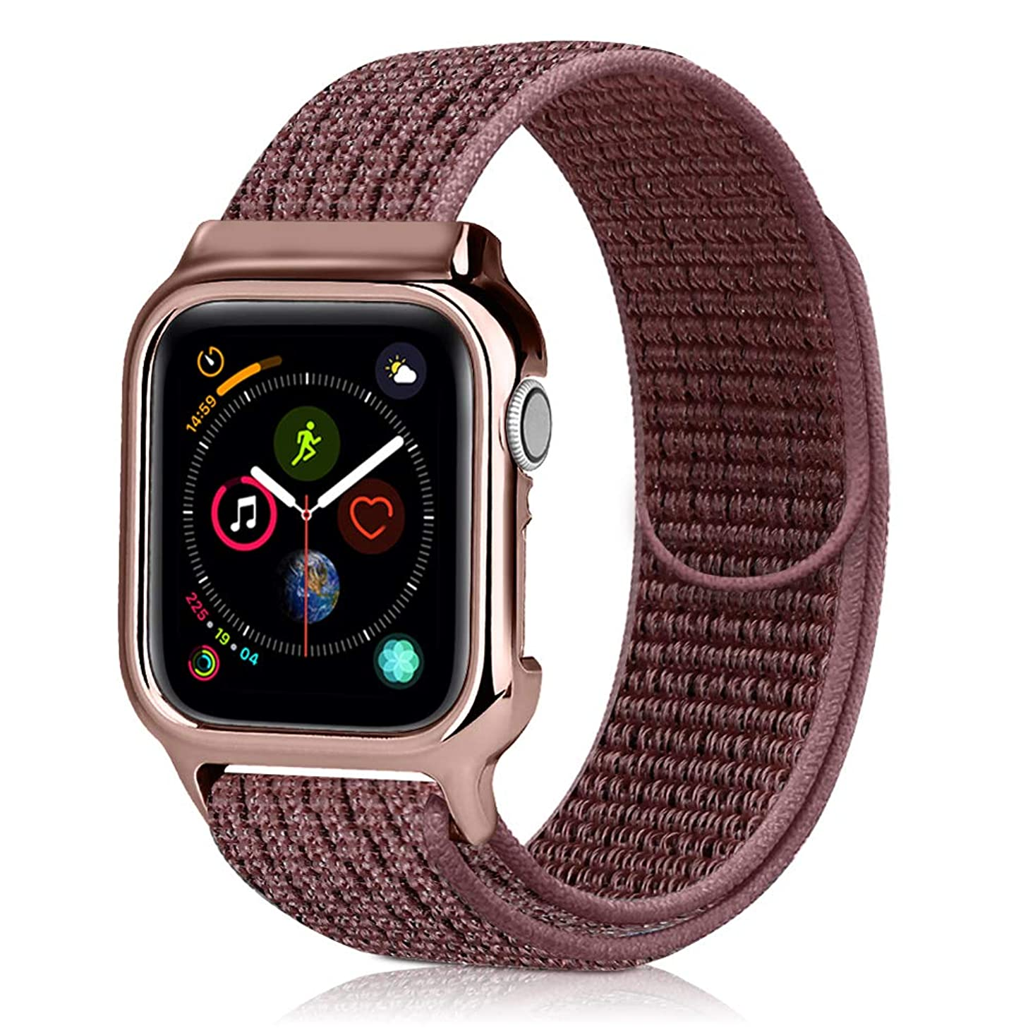 KSOM Compatible with Apple Watch Band with Case 40mm 44mm, Soft Lightweight Breathable Nylon Sport Loop Replacement Wristband with PC Protective Cover Frame for iWatch Series 4 (Smokey Mauve, 40mm)